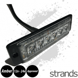 Super Slim, High Powered Beacon / Strobe, Amber, Reg 65, E6 R10 Approved, 12/24v, 2m of cable