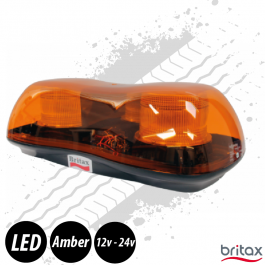Britax Mini LED Lightbar REG65, Bolt Mount, Amber, 12/24v