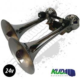 Chrome Dual 24v TGV Air Horn 24v, Alternating Tone Train Horn Style
