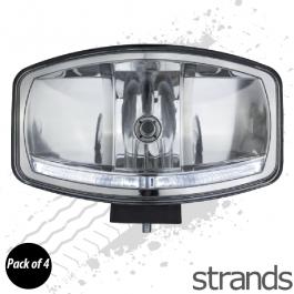 4 PACK - Omega Oval Spotlight, H7 Halogen with LED Sidelights (DRL's), 12/24v, 3 year Warranty