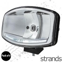 6 PACK - Omega Oval Spotlight, H7 Halogen with LED Sidelights (DRL's), 12/24v, 3 year Warranty