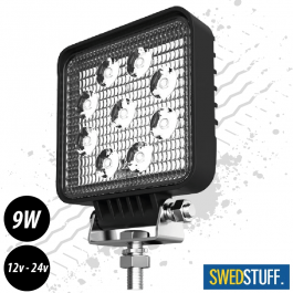 SWEDSTUFF 9 Watt Square Super Bright LED Work Light 12/24v - 1 Year Warranty