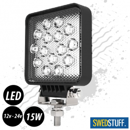 SWEDSTUFF 15 Watt Slim Square LED Work Light 12/24v - 1 Year Warranty