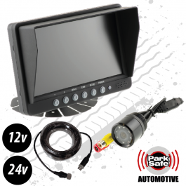 "Reversing Camera Kit, 7"" Screen, Bumper Mount External Camera with IR Lights, 12v / 24v"
