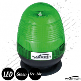 Warrior Low Profile Green LED Beacon 12/24 Volt - Magnetic Base