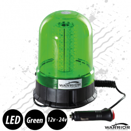 Warrior Low Profile Green LED Beacon 12/24 Volt Plug And Play - Pipe Mount Or Magnetic