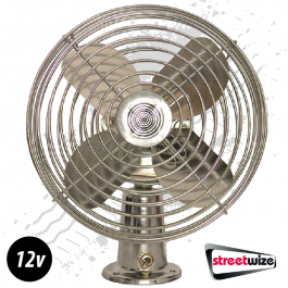 Oscillating All Metal Fan 6 Inch Dual Speed 12 Volt - Plug And Play