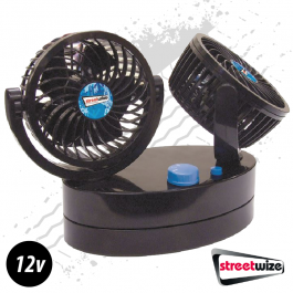 Twin Oscillating Fans 2 Speed 12 Volt - Plug And Play