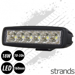 SuperBright - 160mm LED Work Lamp 6 LED 18W 10-30v.