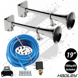 """Hadley 19"""" Round Airhorns with Fitting Kit (Pair)"""