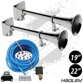 "Hadley 19"" & 22"" Twin Airhorns. Inc. Fitting Kit."