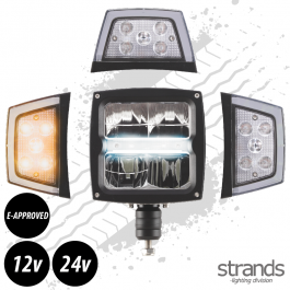 Strands Snow Plow LED Light with Heated Lens 12 / 24 Volts E-Approved - 3 Year Warranty