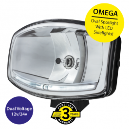 Omega Oval Spotlight, H7 Halogen with LED Sidelights (DRL's), 12/24v, 3 year Warranty
