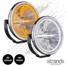 Strands AMBASSADOR 9″ LED driving light. With white and amber position light. 12/24v