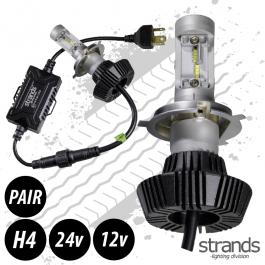 LED Headlight Conversion Kit, H4, 12/24v, Fully E Approved