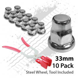 33mm Wheel Nut Covers. Pack of 10 with Nut Cap Remover Tool.