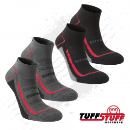 TuffStuff 607 Elite Low Cut Socks (Grey/Black) 2 Pairs