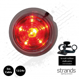 Clear Lens, Red LED Viking / Gylle Bullet Side Marker Light 12/24v