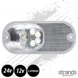 Strands White LED Position Light With Reflector In White. E-Approved, 12- 24 Volts - 3 Year Warranty