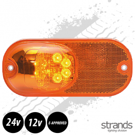 Strands LED Side Marker With Indicator & Reflector In Amber. E-Approved, 12- 24 Volts - 3 Year Warranty