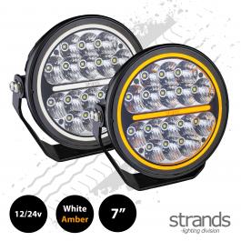 """Strands SIBERIA Night Ranger, 7"""" Driving Light, 12/24v, Amber / White Side Light - PRE-ORDER JAN 2021"""