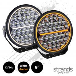 """Strands SIBERIA Night Ranger, 9"""" Driving Light, 12/24v, Amber / White Side Light - PRE-ORDER JAN 2021"""