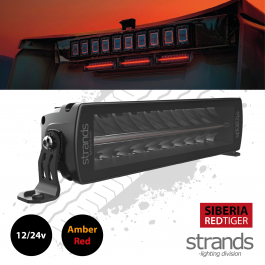 """Strands SIBERIA Red Tiger Double Row LED Bar 10"""" 12/24 Volt, Red and Amber Position Light"""