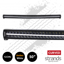 "Strands SIBERIA Curved Double Row LED Bar 50"" Amber/White DRL 12/24 Volt"