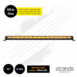 "Strands SIBERIA Night Guard 32"" LED Bar, built in Warning Light / Strobe with Amber / White DRL"