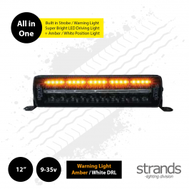 "Strands SIBERIA Night Guard 12"" LED Bar, built in Warning Light / Strobe with Amber / White DRL"