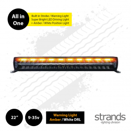 "Strands SIBERIA Night Guard 22"" LED Bar, built in Warning Light / Strobe with Amber / White DRL"