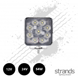 Strands Unity 54 Watt LED Super Bright Square Work Light 12/24 Volts