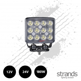 Strands Unity 180 Watt LED Super Bright Square Work Light 12/24 Volts