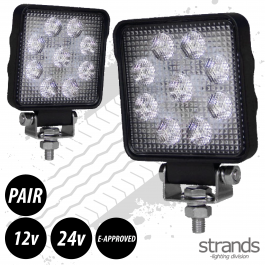 PAIR Of Work Lights 15W Square LED - E-Approved