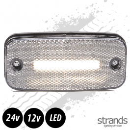 Strands White LED Side Marker Light SLD One Line 12/24 Volts