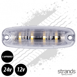 Amber LED Warning Light 98mm Long E-Approved 12 Watt 12/24 Volts - 26 Patterns
