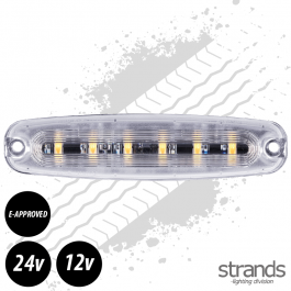 Amber LED Warning Light 131mm Long E-Approved 12 Watt 12/24 Volts - 26 Patterns
