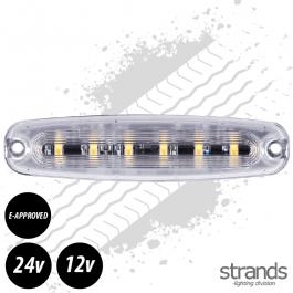 Amber LED Warning Light 131mm Long E-Approved 12 Watt 12/24 Volts - 26 Patterns