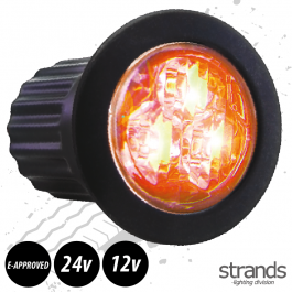 Slim, Round High Powered Amber Strobe / Beacon, Perfect for light bars and body work, 12/24v