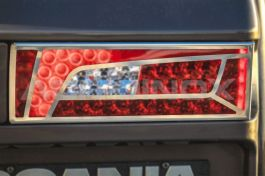 Stainless Steel Mirrored Tail Light Covers Suitable For Scania S Series - Pair