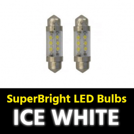 Ice White Festoon SV8.5 10x36mm LED Bulbs (Pair) 24v for Trucks