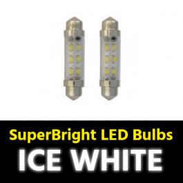 Ice White Festoon SV8.5 10x42mm LED Bulbs (Pair) 24v for Trucks
