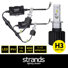 LED Headlight Conversion Kit, H3, 12/24v, Fully E Approved
