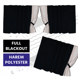 Universal Blackout Curtains for Truck Windscreen  - Black / Cream (Harem Style)