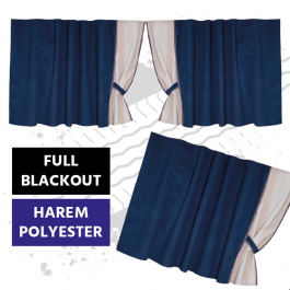 Universal Blackout Curtains for Truck Windscreen  - Blue / Cream (Harem Style)