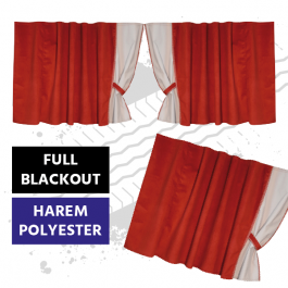 Universal Blackout Curtains for Truck Windscreen  - Red / Cream (Harem Style)