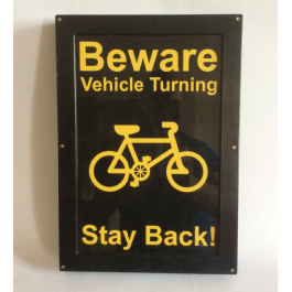 Illuminated Vehicle Safety Sign - Beware Vehicle Turning, Stay Back, LED Sign