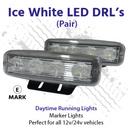 Ice White LED Daytime Running / Marker Lights (Pair) 12v/24v, E Approved
