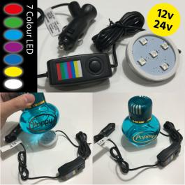 LED Base for Glass Bottle Air Fresheners - 7 Colours, 12/24v