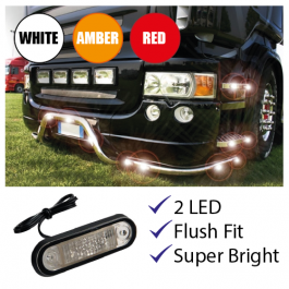 SPECIAL OFFER! - LED Marker Light - 24v. Flush Fitting. Truck. White, Amber or Red.